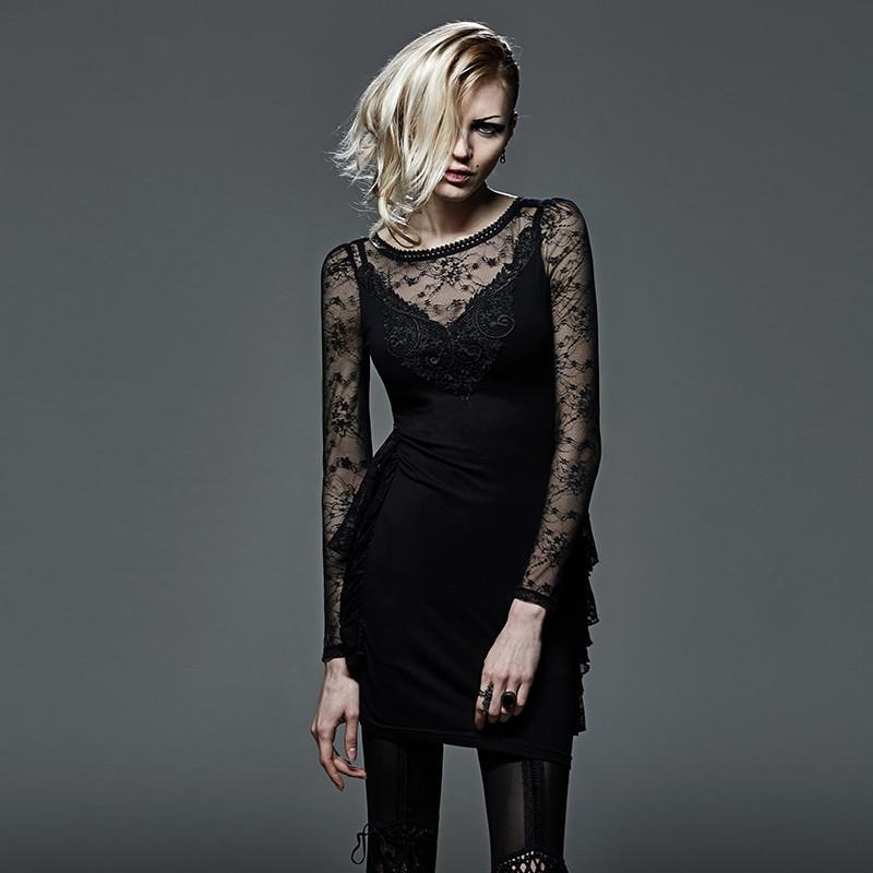 Women's Gothic Floral Sheer Lace-up Backless Slim Fitted Lace Dress-Punk Design
