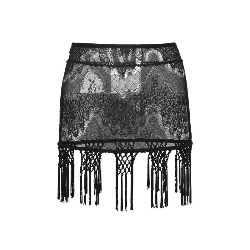 PUNK RAVE Women's Gothic Floral Tassels Lace Mini Skirts