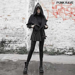 Punk Rave Women's Gothic Front-zip Hooded Short Coats