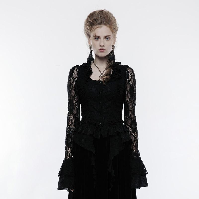 Women's Gothic Gorgeous Falbala Collar Lace Standard Tops-Punk Design
