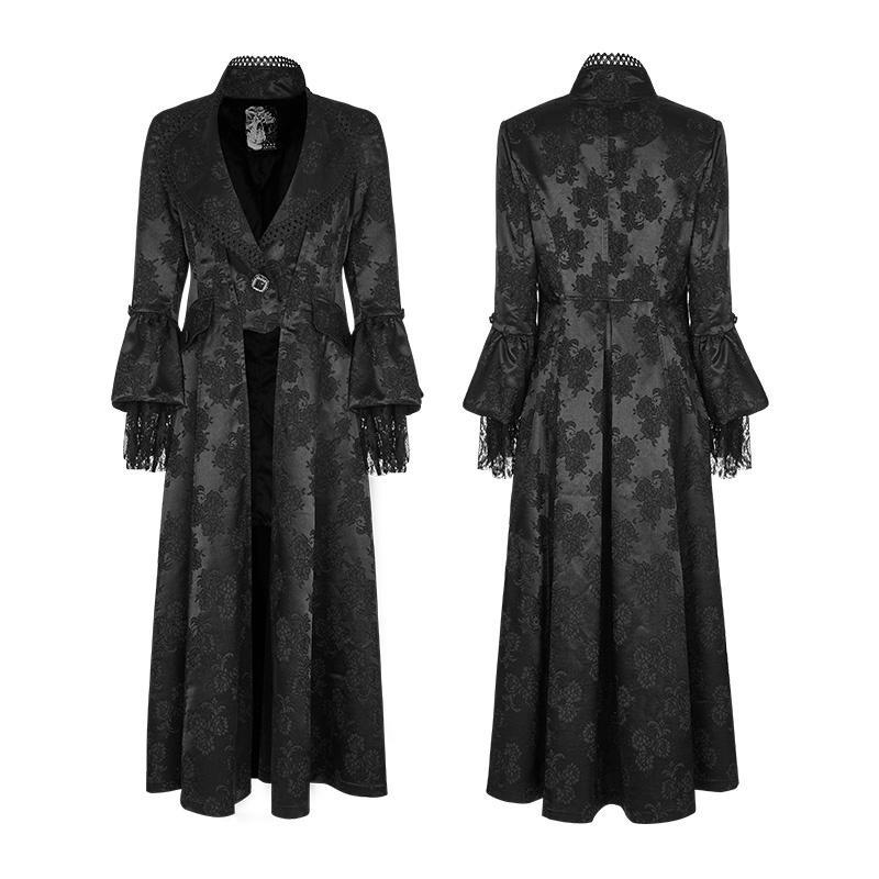 Women's Gothic Gorgeous Jacquard Slim Fitted Coat-Punk Design