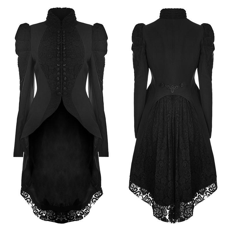 Women's Gothic Gorgeous Vintage High/low Lace Ruched Coat-Punk Design