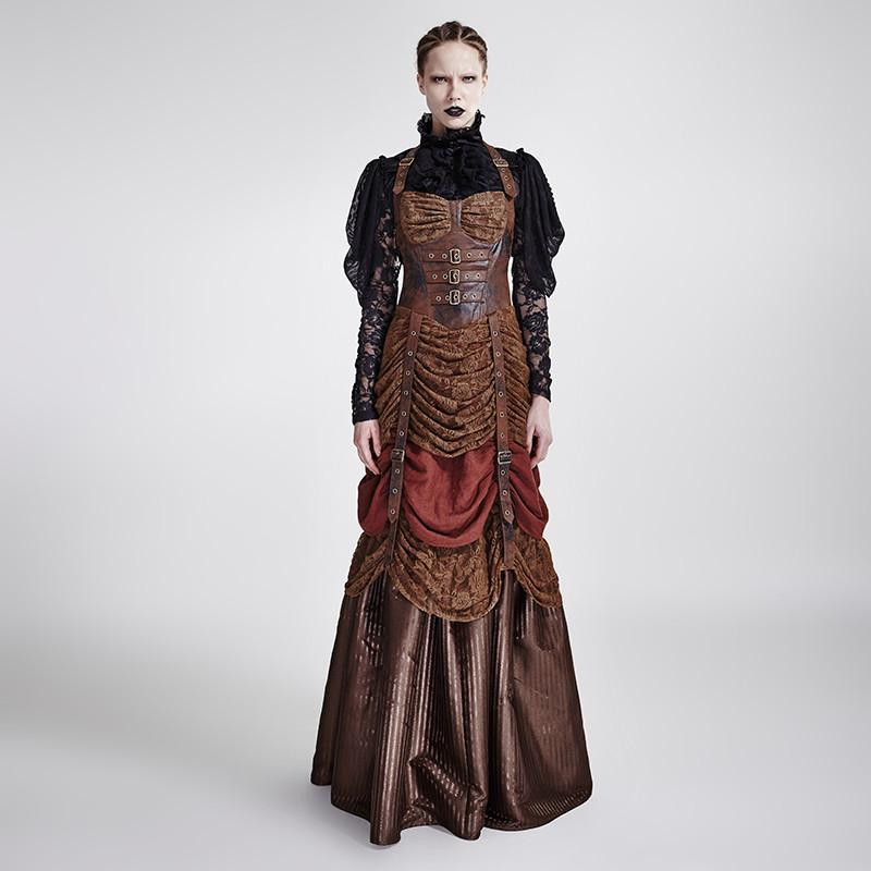Women's Gothic Halterneck Ruched Ball Gown Dress-Punk Design