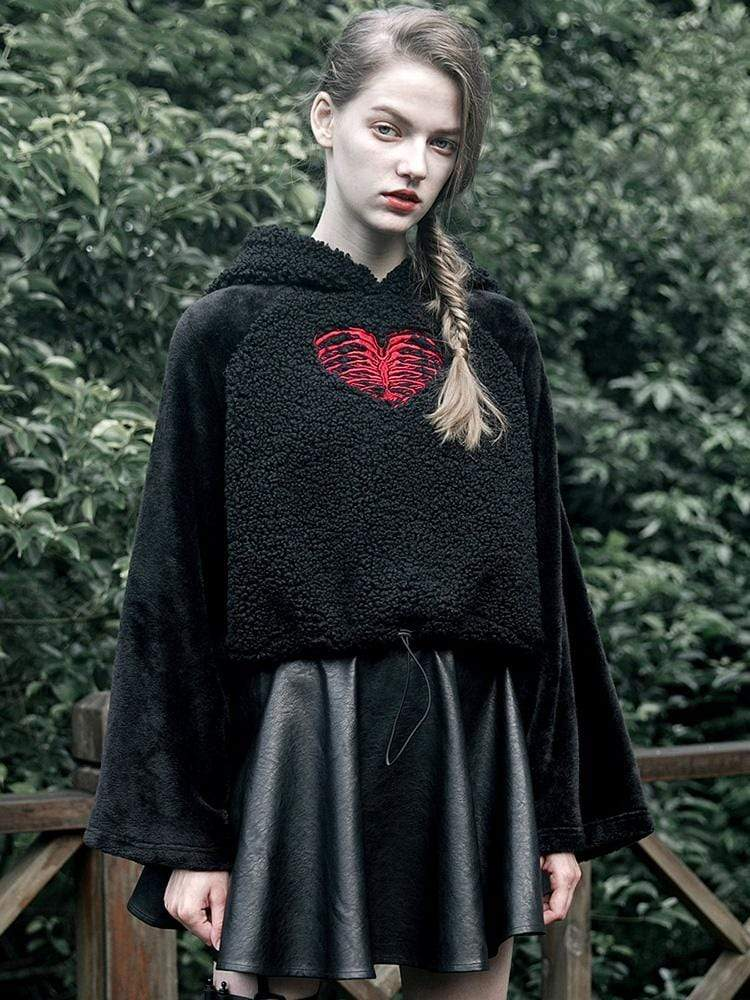 Punk Rave Women's Gothic Heart Embroidered Patchwork Suede Hoodies