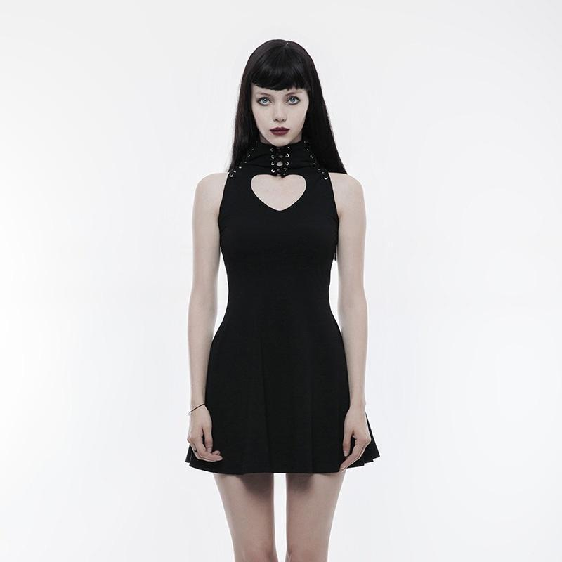 PUNK RAVE Women's Gothic Heart Shape Cutout Lace-up Sleeveless Dress