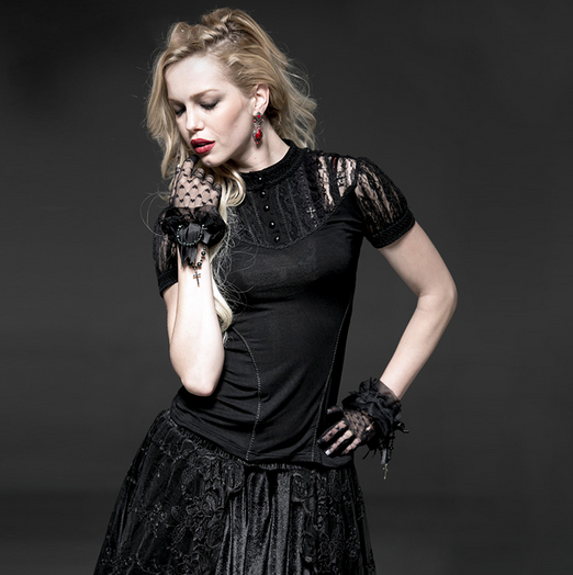 Women's Gothic High Collar Lace Jacquard Tops-Punk Design