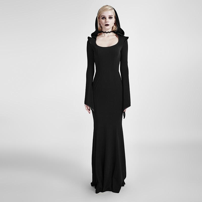 Women's Gothic Hooded Mermaid Bodycon Gown Maxi Evening Dress-Punk Design