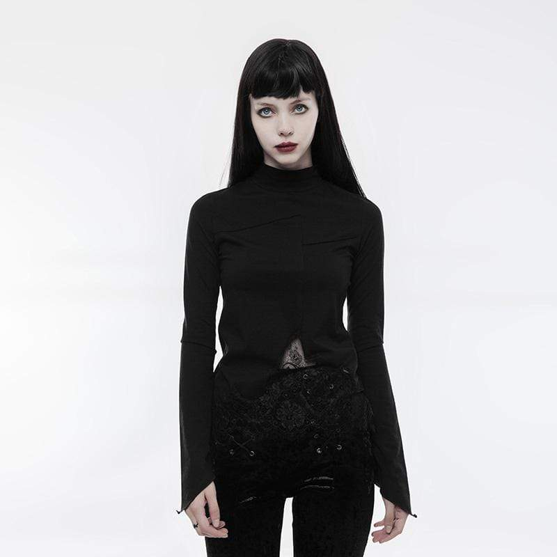 PUNK RAVE Women's Gothic Irregular Lace Hollow-out Long Sleeve T-shirt