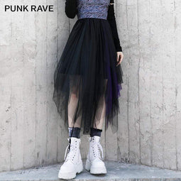 Punk Rave Women's Gothic Irregular Mesh Skirts Black-purple