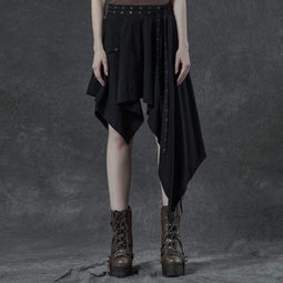 Punk Rave Women's Gothic Irregular Skirts With Belt