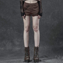 Punk Rave Women's Gothic Jacquard Shorts Brown
