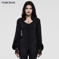 Punk Rave Women's Gothic Lace Cuff Velvet Shadow Flower Shirts