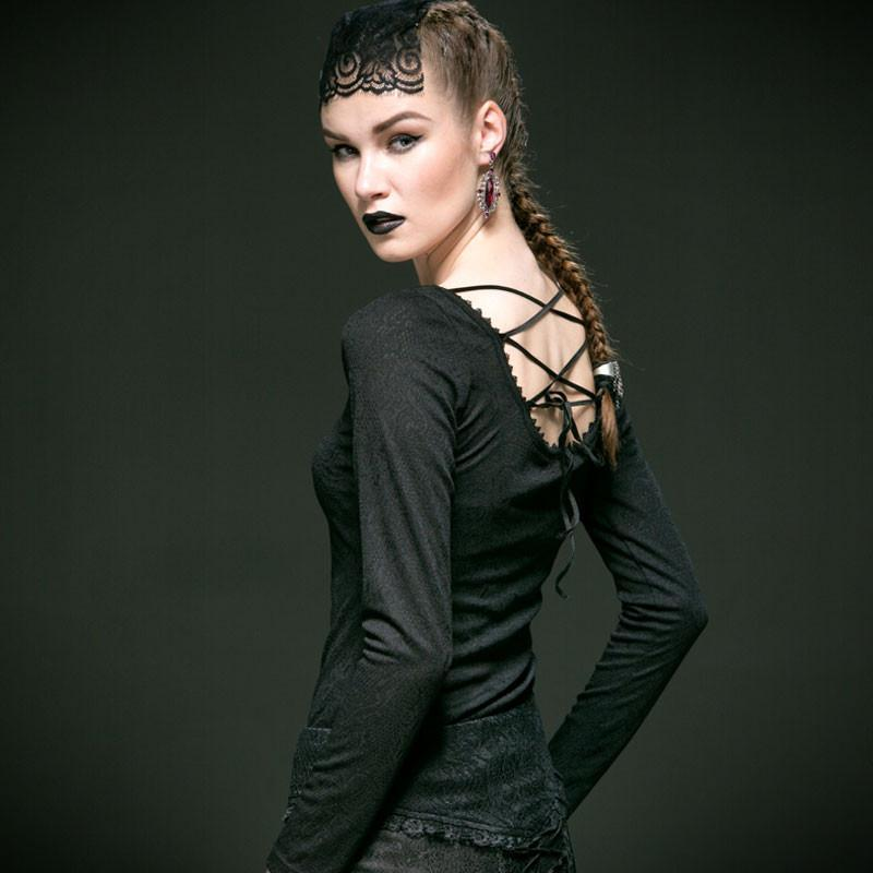 Women's Gothic Lace-up Back Round Neck Long Sleeved Jacquard Tops-Punk Design