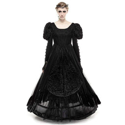 PUNK RAVE Women's Gothic Lolita Stitching Design Evening Prom Tube Dress Black