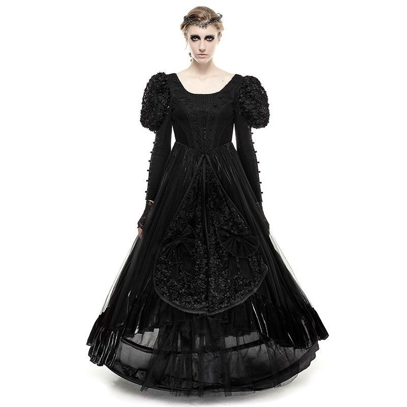 Women's Gothic Lolita Stitching Design Evening Prom Tube Dress Black-Punk Design