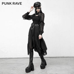 Punk Rave Women's Gothic Mesh Splicing Ripped Ruffles Irregular Dresses