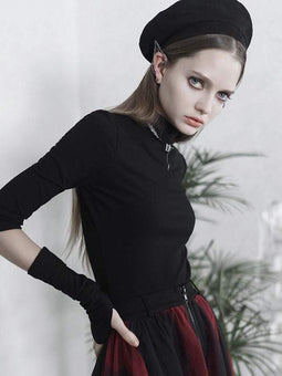 Punk Rave Gothic Collar Impreso Kintted Camisetas