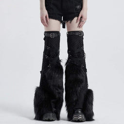 Punk Rave Women's Gothic Net Splicing Faux Fur Leg Warmers