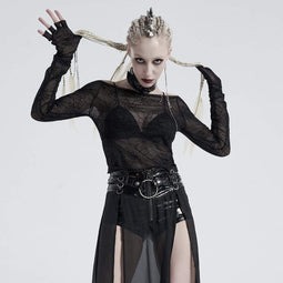 Punk Rave Damen Gothic Off-Shoulder Spinnennetz Crop Tops