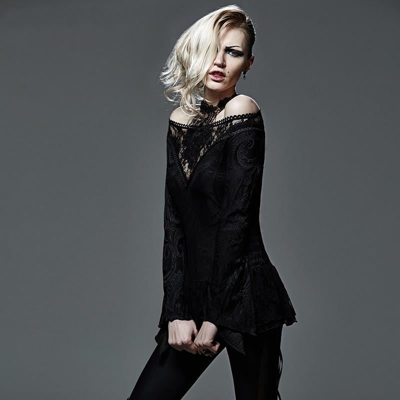 Women's Gothic Off-The-Shoulder Floral Lace Long Sleeved Tops-Punk Design