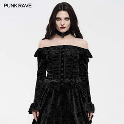 Punk Rave Women's Gothic One-word Collar Velvet Shirts