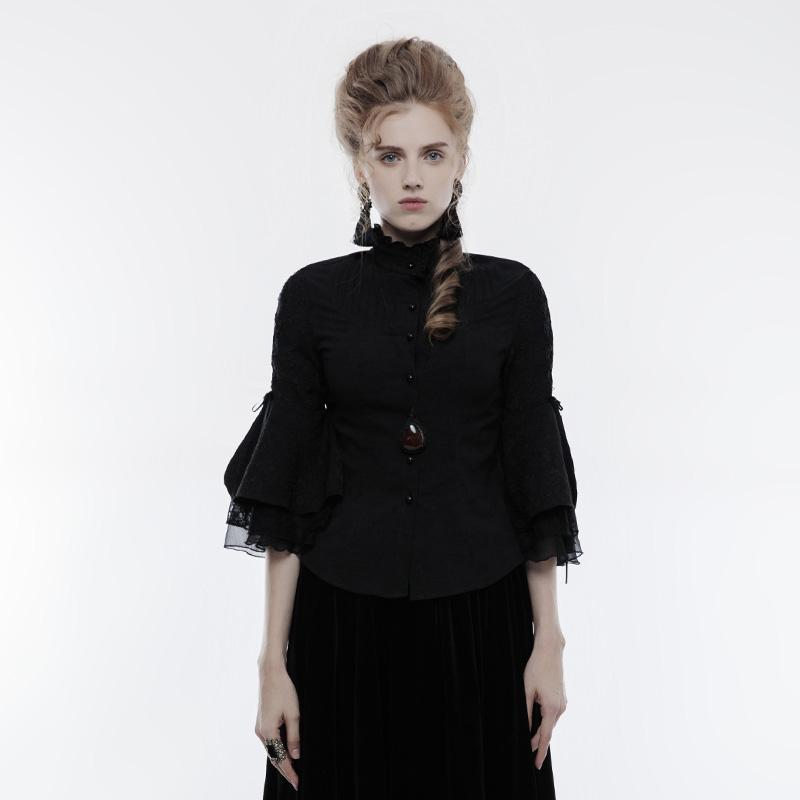Women's Gothic Pagoda Cropped Sleeves Jacquard Shirt-Punk Design