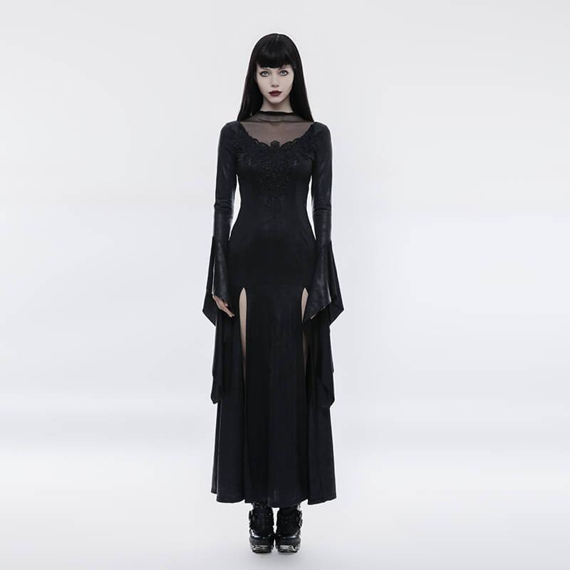 Women's Gothic Pagoda Sleeve Open Forklift Gorgeous High Cross Dress-Punk Design
