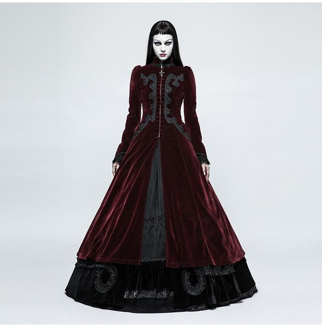 Gótico Palace Swallow Tail Velvet Maxi Overcoat-Punk Design para mujer