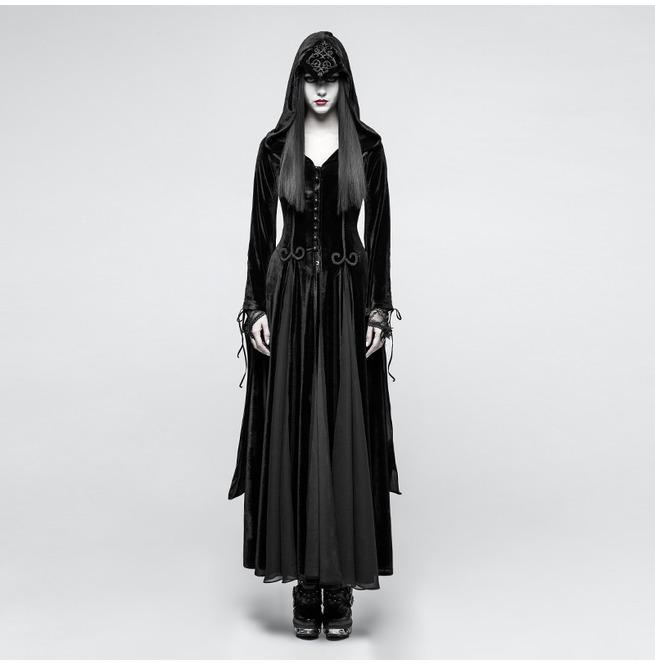 PUNK RAVE Women's Gothic Priestess Hooded Maxi Dress