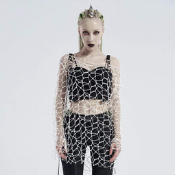 Punk Rave Chandails Gothic Pure Color Net Shrug Femme