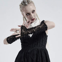 Punk Rave Damen Gothic Ripped Mesh Arm Ärmel