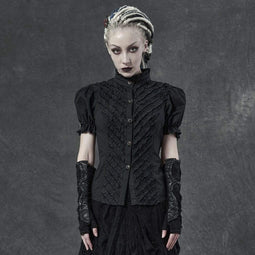 Punk Rave Women's Gothic Ruffles Back Strappy Blouses