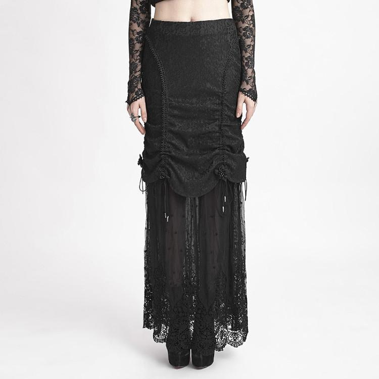 Women's Gothic Ruffles Fishtail Maxi Lace Skirts-Punk Design