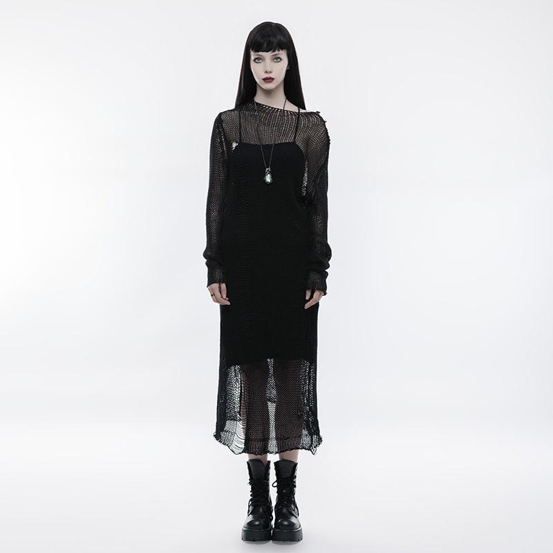 Women's Gothic Sexy Sheer Mesh Woolen Dress-Punk Design