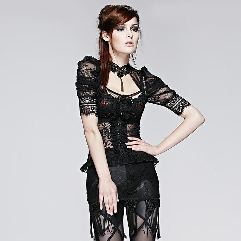Women's Gothic Sheer Halterneck Puff Sleeve Lace Tops-Punk Design