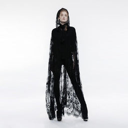 Women's Gothic Sheer Lace Long Cloak-Punk Design