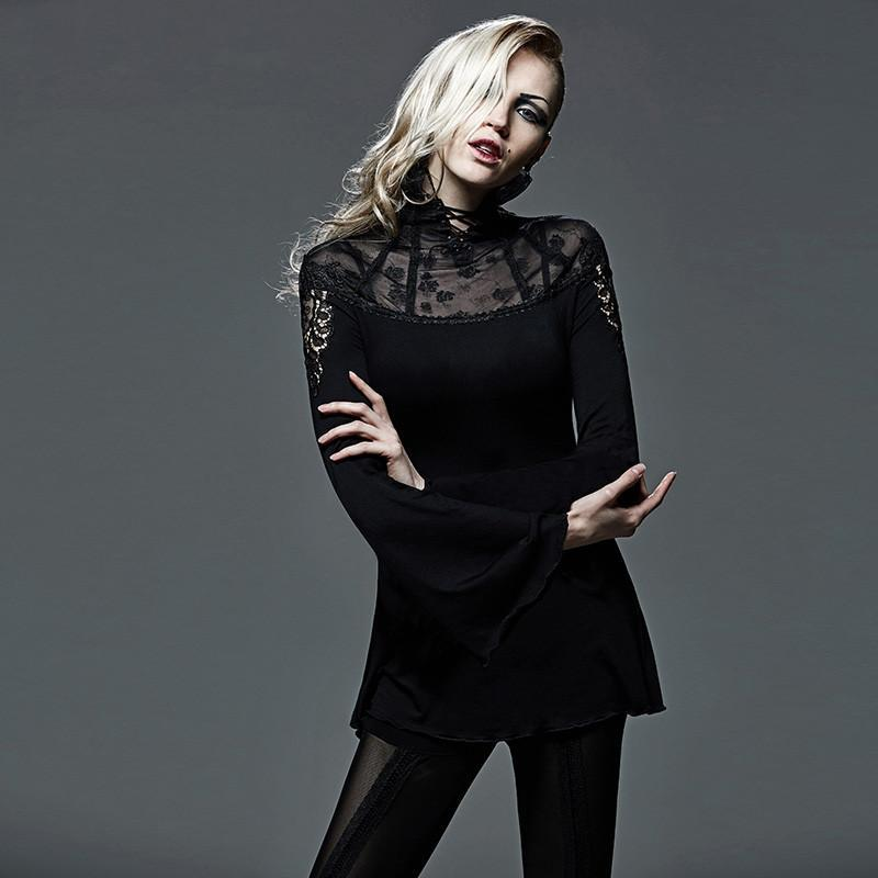 PUNK RAVE Women's Gothic Sheer Long Sleeved High Collar Lace Tops