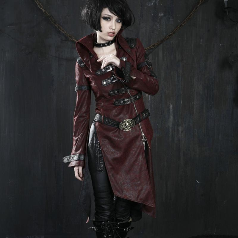 PUNK RAVE Women's Gothic Skull Buckle Up Faux Leather Parka Coat With Belt