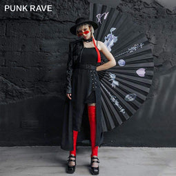 Punk Rave Women's Gothic Slip Dresses With Belt And Choker