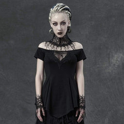 Punk Rave Damen Gothic Spider Lace Collar Blusen