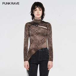 Punk Rave Women's Gothic Stand Collar Asymmetric Long Sleeved Shirts