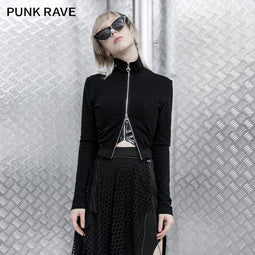Punk Rave Women's Gothic Stand Collar Front-zip Ripped Fitted Jackets
