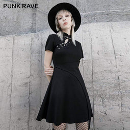 Punk Rave Femmes Gothic Stand Collar Multi-chains Dresses