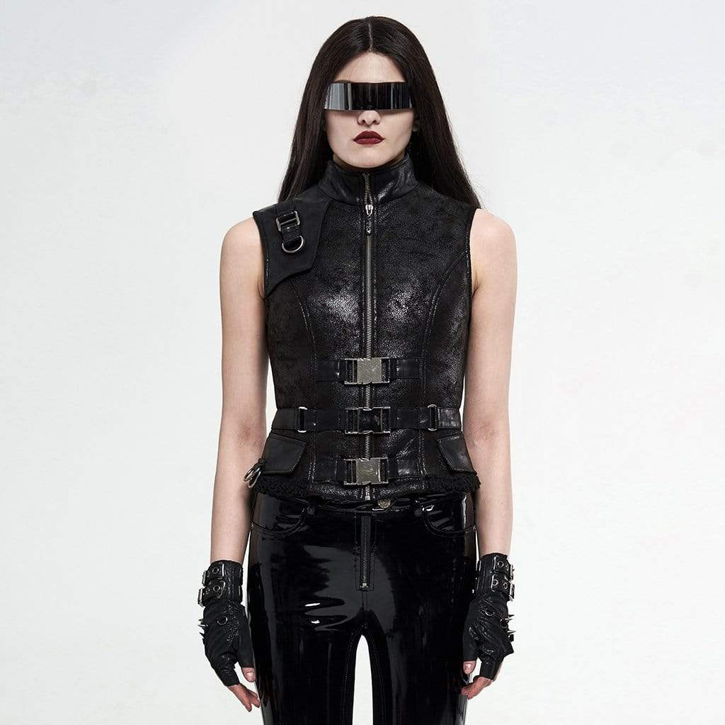 Punk Rave Femmes Gothic Stand Col Zipper Faux Leather Tops