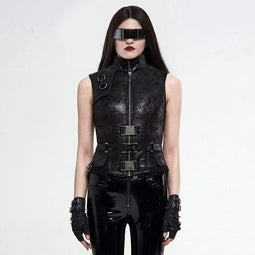 Punk Rave Women's Gothic Stand Collar Zipper Faux Leather Tops
