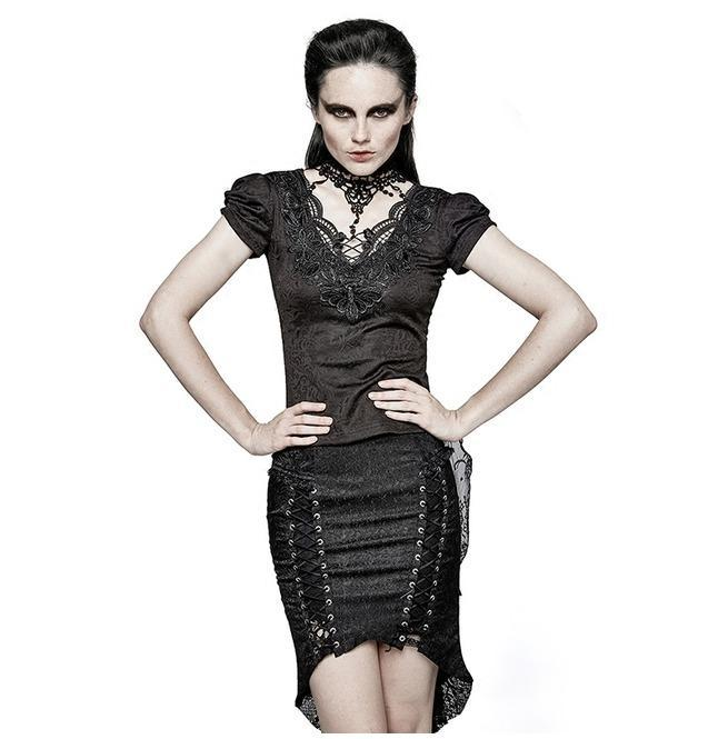 Damen Gothic Swallow Tail Jacquard Kurzarm Spitze Tops-Punk Design