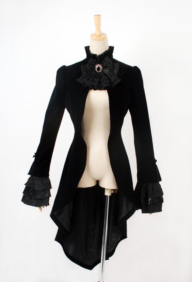 Women's Gothic swallow tail lace-up Long Coat with Collar Flower-Punk Design
