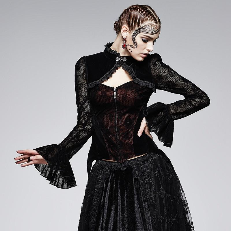 Women's Gothic Trumpet Sleeves Lace Tops-Punk Design