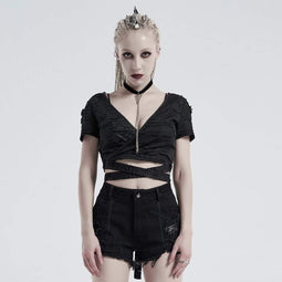 Punk Rave Damen Gothic V-Ausschnitt Ripped Strappy Tops