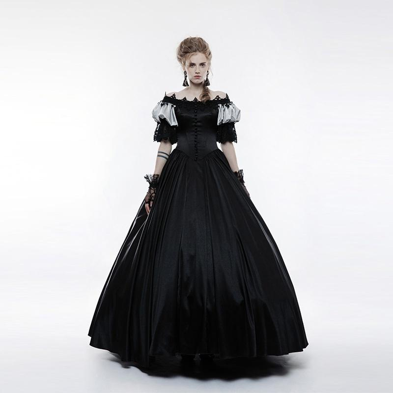 Women's Gothic Vintage Off Shoulder Bubble Sleeve Long Dress-Punk Design